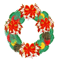 Christmas wreath with ribbons vector