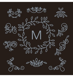 Set of floral line design elements vector