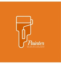 Paint roller with a strip of paint and drops vector