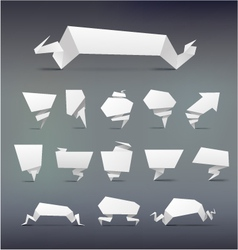 Set of white origami paper banner for you design vector