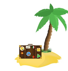 Palm tree and tourist bag vector