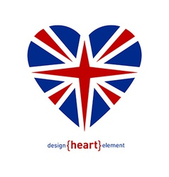 Heart with united kingdom flag vector