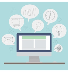 Computer with sketch application icon vector
