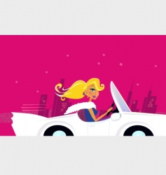 Girly chick driver in car vector