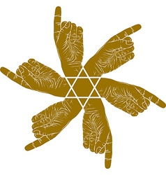Six pointing hands abstract symbol with hexagonal vector