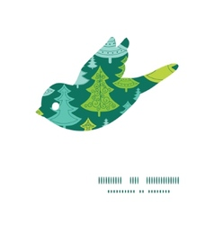 Holiday christmas trees bird silhouette pattern vector