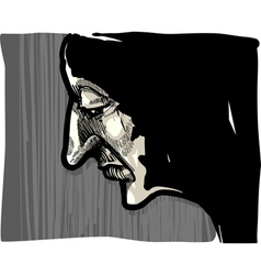 Man face artistic drawing vector