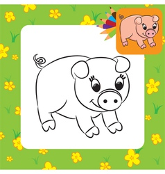 Pig coloring page vector