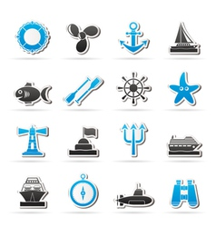 Marine and sea icons vector