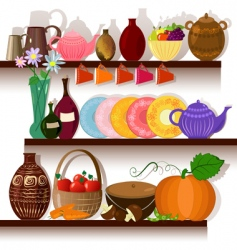 Tableware home on the shelves vector