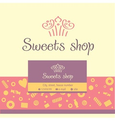 Logo business card for a candy store vector