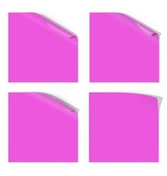 Magenta paper curled corner vector