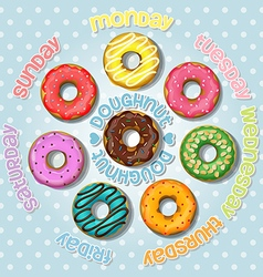 Collection of colorful doughnut vector