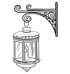 Antique lantern contour vector