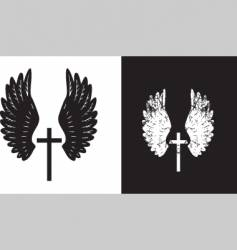 Cross and wings black vector