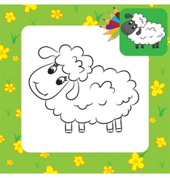 Sheep coloring page vector