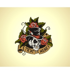 Old school tattoo skull vector