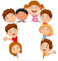 Kids with blank sign vector