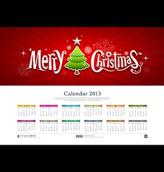 Calendar 2013 merry christmas vector