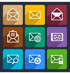 Mail flat icons set 47 vector