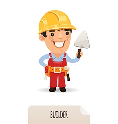 Male builder with a trowel vector