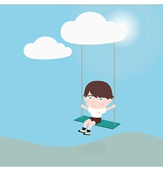 Little boy on a swing hanging from cloud vector