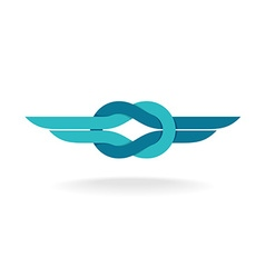 Knot logo with wings vector