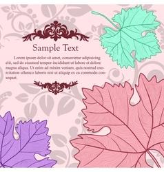 Retro card with grape leafs vector