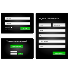 Login and register web form vector