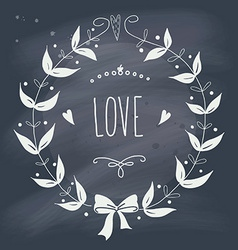 Valentines day wreath with text on blackboard vector