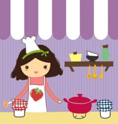Girl in kitchen vector