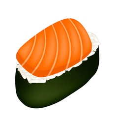 Salmon sushi or salmon nigiri isolated on white vector
