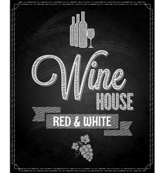 Wine menu design chalkboard background vector