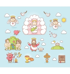 Religious icon set vector