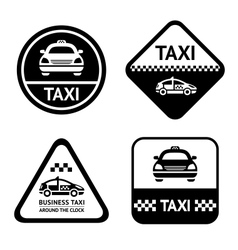 Taxi cab set black buttons vector
