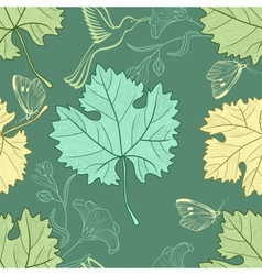 Seamless pattern with grape leafs vector