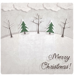 Christmas background with snow-covered trees vector