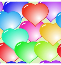 Background with glass multicolor hearts vector