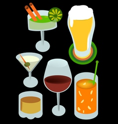 Drinks with alcohol vector