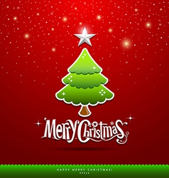 Merry christmas green tree vector