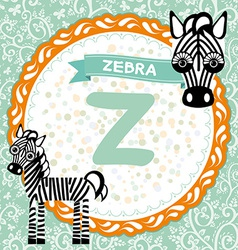 Abc animals z is zebra childrens english alphabet vector