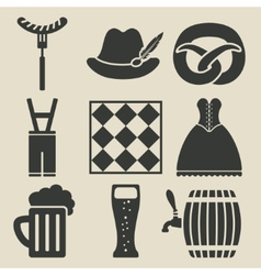 Oktoberfest beer festival icons set vector