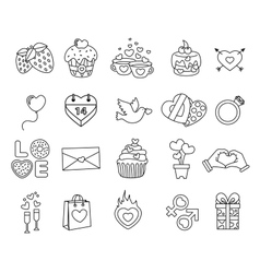Set valentine day objects love icon vector