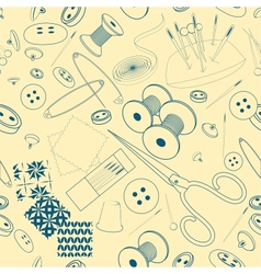 Seamless pattern with a sewing stuff monochrome vector