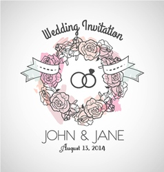 Wedding invitation rose vector