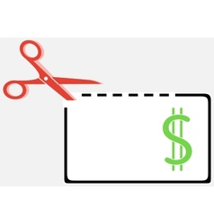 Cut out money coupon with scissors vector