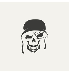 Skull in helmet black and white vector