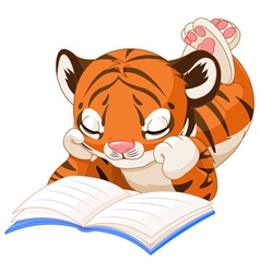 Cute tiger reading vector