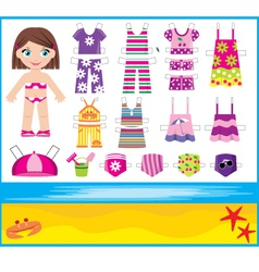 Paper doll with summer set of clothes vector
