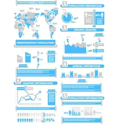 Infographic demographics world percentage blue vector